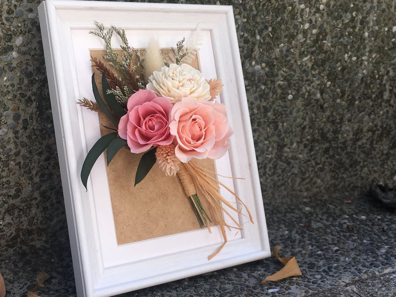 Everlasting bouquet photo frame standing wall hanging dual-use promotion / transfer / opening / new home / counter decoration
