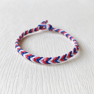 Red, white and blue - silk wax line / hand-woven bracelet