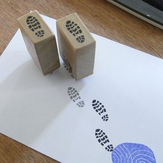 Handmade rubber stamp Footsteps of  shoes