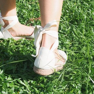 Lace Up Sandals (White)