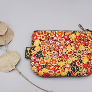Peaceful little music wallet - red gold stone, Japanese hot gold cloth