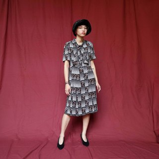 Pumpkin Vintage. Ancient bandage printed chiffon dress
