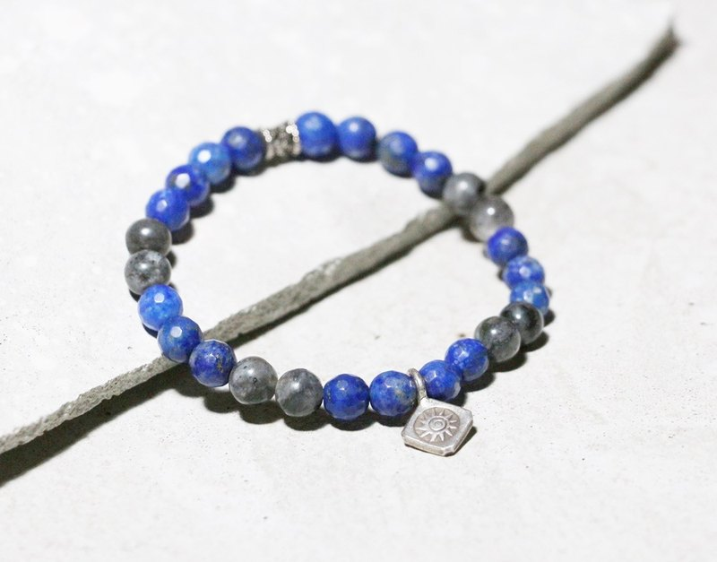 Cool play series - Awakening face lapis lazuli x glitter stone 925 sterling silver bracelet commemorative day exchange gift
