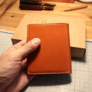 MOOS 鞣 鞣 鞣 leather full hand sewing multi-function loose-leaf short wallet short cloth (orange)