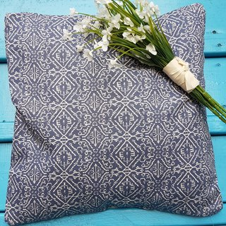 Nordic style national style blue geometric pattern pillow / cushion