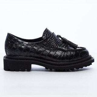 [Saint Landry] crocodile leather tassel loafers - Classic Black