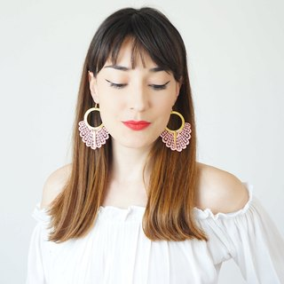 PINK Statement Earrings Spring Fashion Summer Trends Lace Earrings Boho-Chic Fashion Bohemian Earrings Gift for Her Women Accessory Gift/ GELARI
