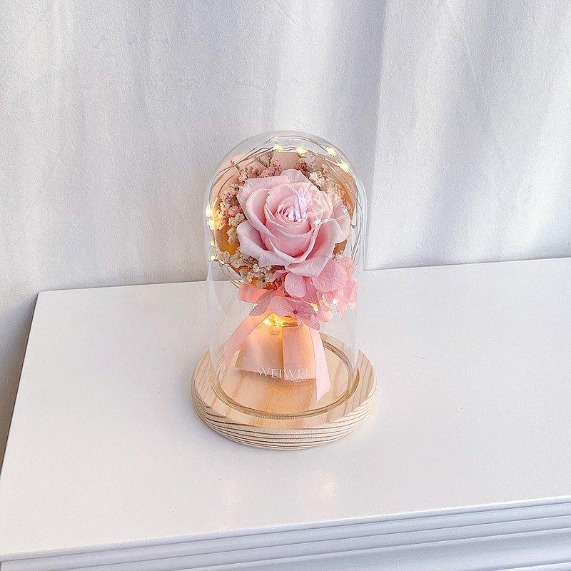 【獨家USB款】LED玫瑰小花束永生花玻璃鐘罩【櫻花粉】