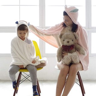 CB Japan Children's Animal Shape Microfiber Shawl (with cap) - Polar Bear White
