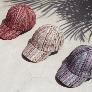 Christmas gift Valentine's Day gift Tanabata gift hand-woven cap / braided hat / fisherman hat / visor / handmade hat / sports hat / hand-woven hat / cotton hat - colorful hand-colored line hand woven hat (burgundy /