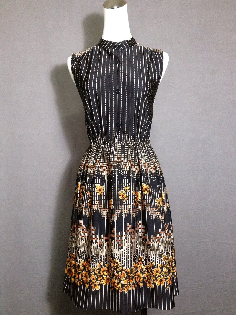 Ping-pong vintage [vintage dress / retro striped flowers totem vintage dress] abroad back VINTAGE