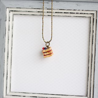 Miniature French classic dessert Mille Feuilles Necklace Short chain