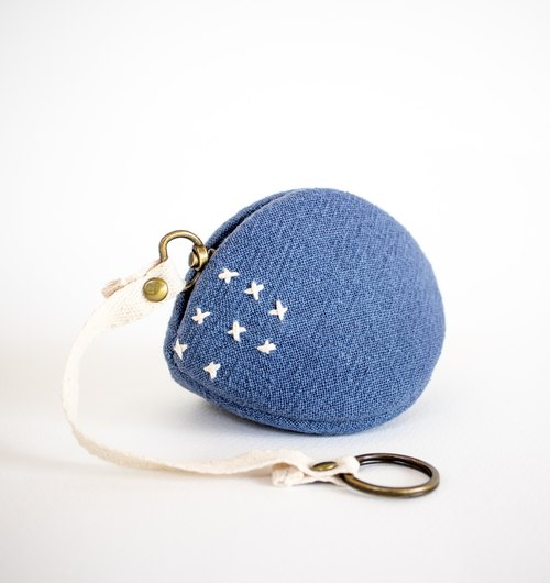 Blue coin purse and key chain. Japanese style bag