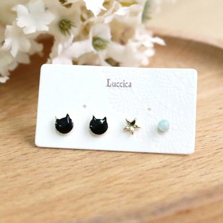 Japanese Handmade Ornaments - Cat Head Star Earrings | Black