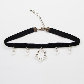 Black velvet choker/necklace with clear star