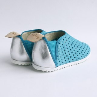 Beven Smiley. V series full leather children's shoes - tunnel section - relaxed blue -30 yards (slippers / lazy shoes)