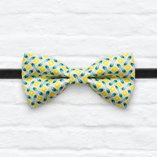 Style 0299 Fresh Yellow Vintage pattern Bowtie - Navy & White Wedding Bowtie, Gift for Him, Toddler Bow tie, Groomsmen bow tie, Pre Tied and Adjustable Novioshk