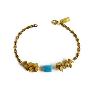 Ficelle | handmade brass natural stone bracelet | [turquoise] those who died in the form of heroic sacrifice