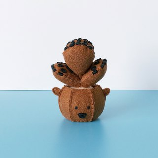 フェルトWoolen art creation C001 finished product brown bear boy brown bear bear boy succulent plant non-woven hand-made pendant