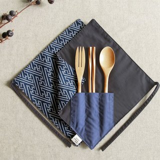 [One corner chopsticks set] - Blue squid