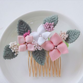 Classy Pink and White Hydrangea Hair Comb Wedding Jewelry