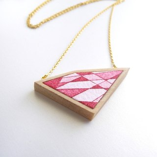The necklace of etching print and wood <The pieces of ores / Red> -B-