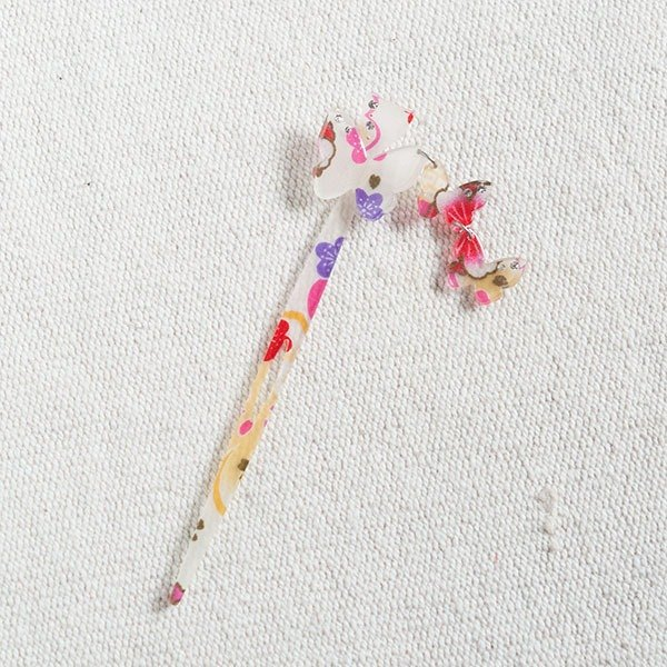 Silk flower, butterfly hairpin, hairpin, hair accessory - white