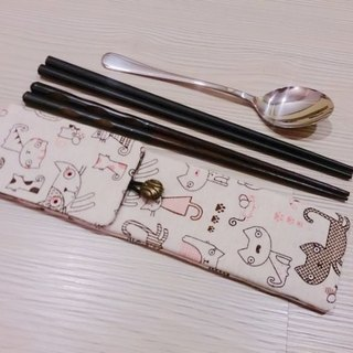 Green tableware storage bag chopsticks bag combination chopsticks special double chopsticks bag cat models