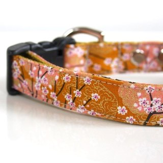 Mustard Cherry Blossom SAKURA Dog Collar - mustard, pale pink【Small】