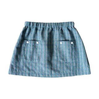 Little Girls Green Plaid Skirt - 100% Cotton - Handmade Children's Clothes