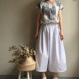 / Clear Sky Miles / White Striped Double Cotton Yarn Wide Pants Skirt Last