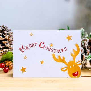 【Christmas】 Seed Paper Christmas Card (Red nose Moose) Christmas Gift Exchange Gift Christmas Gift