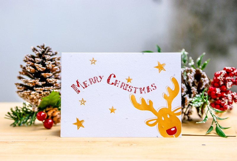 [Christmas] Seed Paper Christmas Card (Red nose Moose)