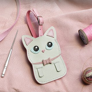 Cat - White cat handmade leather ID card / leisure card / ID card holder