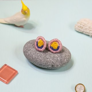 Handmade Embroidery Earrings - Yellow Flower Ear stud (in pair)