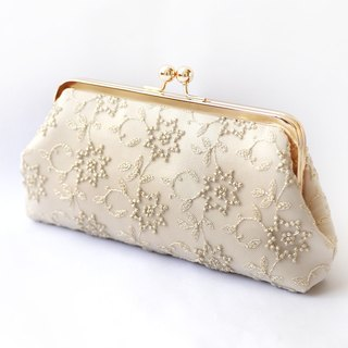 Metallic gold Embroidered Tulle Bridal Clutch in Champagne 8-inches | STAR FLOWER