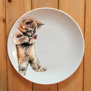 Wall-mounted decorative plate / 8吋 dessert plate series - prayer for the little yellow cat