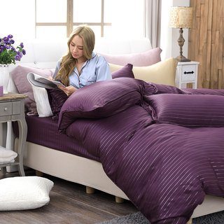 (Extra large) natural solid color temptation purple - silver fiber 60 Tencel dual-use bedding four-piece group 100%