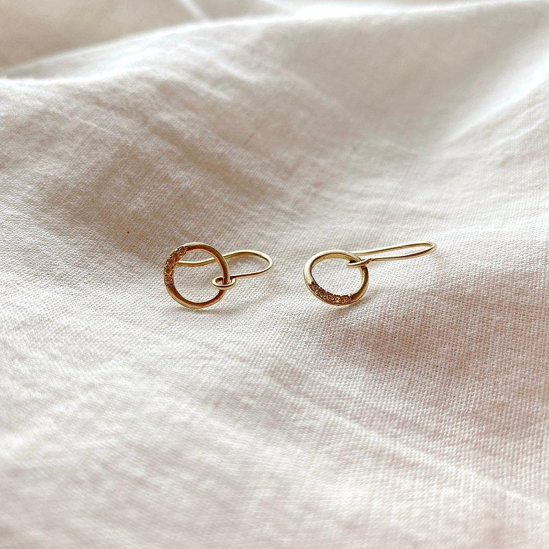 甜圓 - 黃銅耳環-可改夾