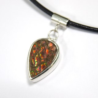 Canada Choi Ban stone Ammolite-925 sterling silver necklace bezel set - Orange Green water droplets fall