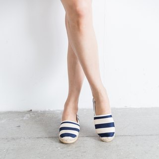 Japanese fabrics, left and right, no straw shoes - stripes - sailor blue
