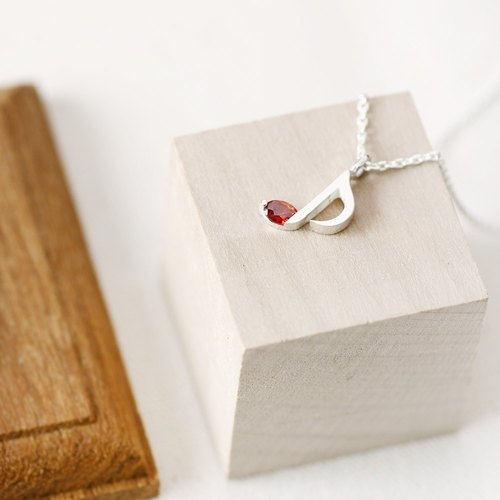 Garnet Music Note note necklace 925 Sterling Silver