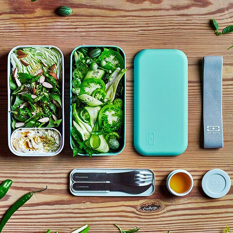 French Monbento Original Double-Layer Lunch Box-Lake Green/White