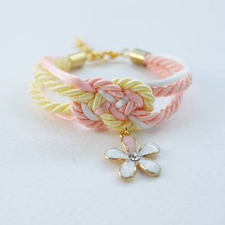 White/Peach/Yellow infinity knot rope bracelet with flower charm