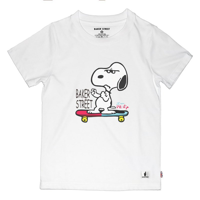 British Fashion Brand -Baker Street- Skate Snoopy T-shirt for Kids