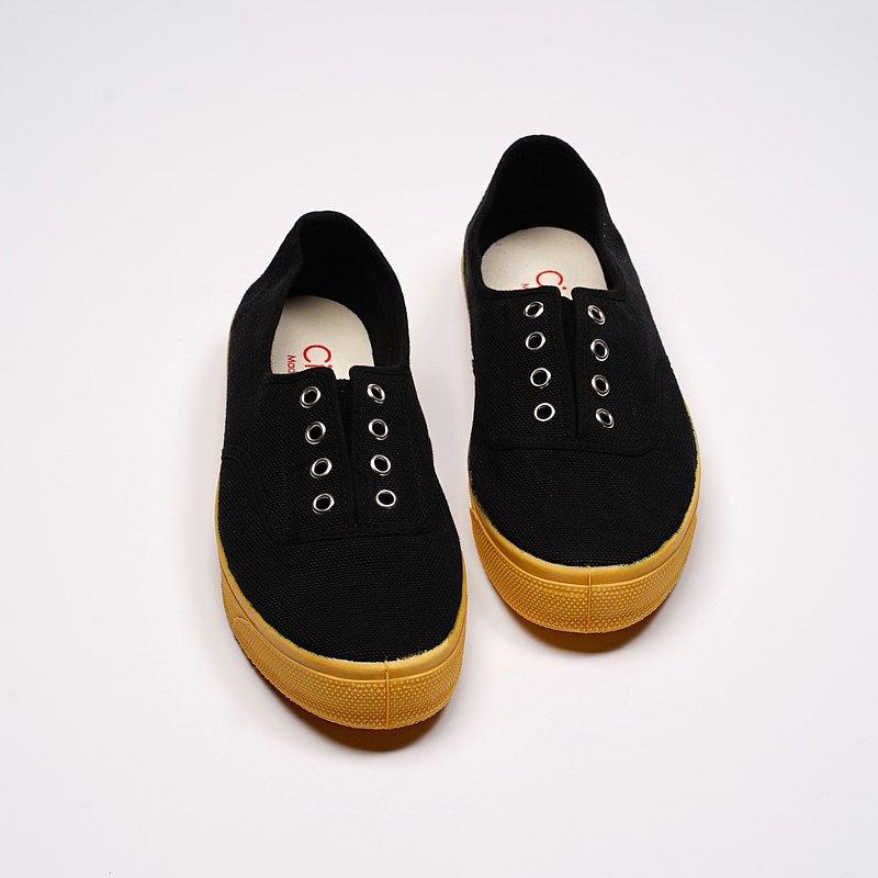 西班牙國民帆布鞋 CIENTA J10997 01 黑色 黃底 經典布料 大人