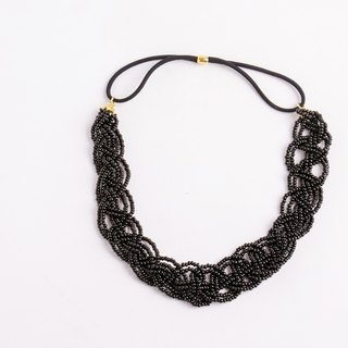 beads headband black wide
