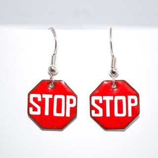 Stop, Stop Earrings, Enamel Earrings, Road Sign Earrings, Enameled, Enameled Jewelry, Traffic Sign,