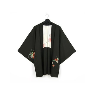 Back to Green-Japan with back feather weaving colorful flower ball / vintage kimono
