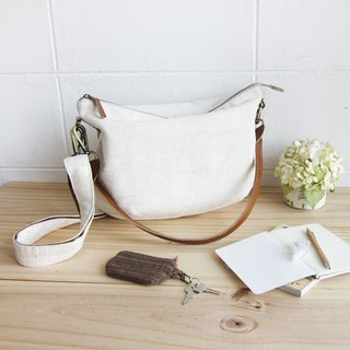 Cross-body Sweet Journey Bags M size Hand Woven  Cotton Natural  Color